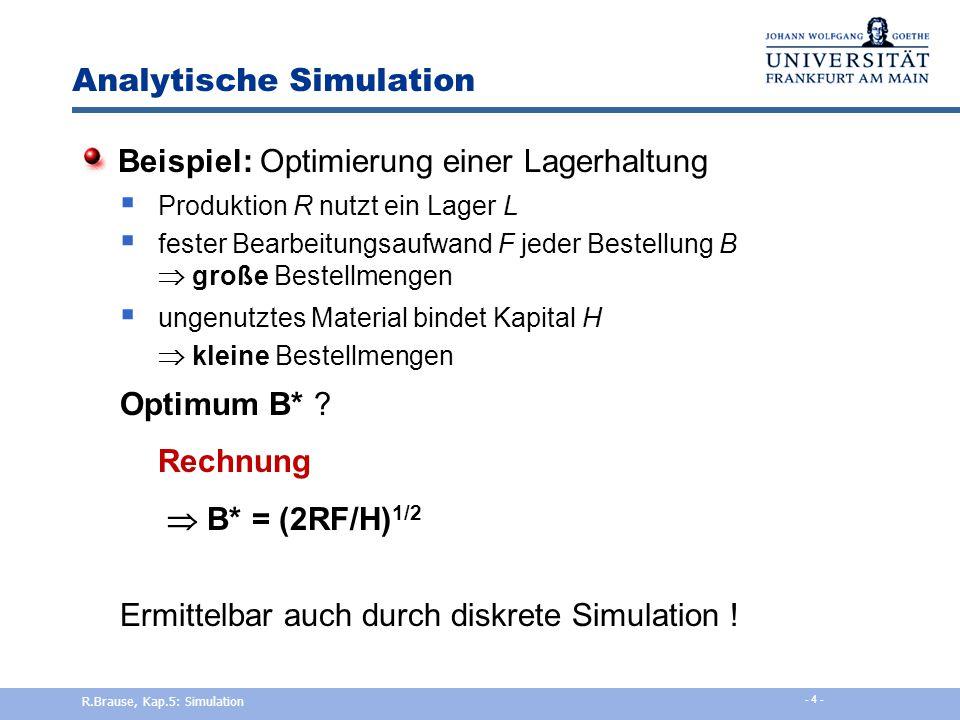 Ereignisorientierte Simulation Beispiel: Supermarkt x (t) t T L Einkaufszeit t z W Länge der Warteliste t t a b c a b c y(t) Ausgang T aL T bL T cL R.Brause, Kap.5: Simulation - 14 -