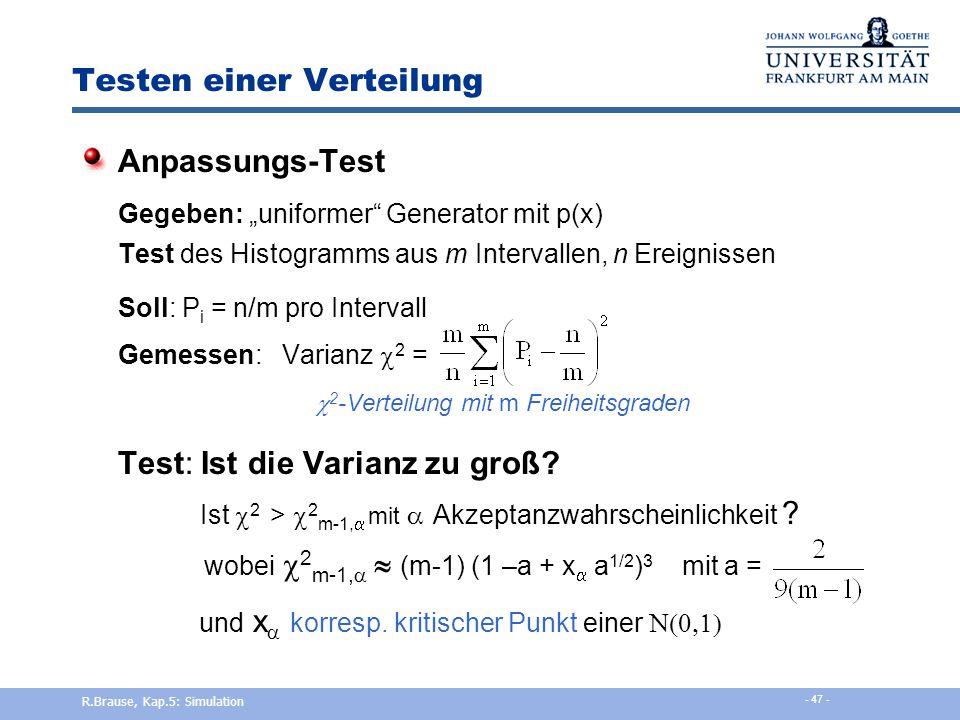 Testen einer Verteilung RUN-Tests: Erzeugung einer Zeichenkette aus 0,1 Beispiel: größer ½ =1 / kleiner =0 0,5  0,7  0,8  0,3  0,2  0,6 s i = 1 1