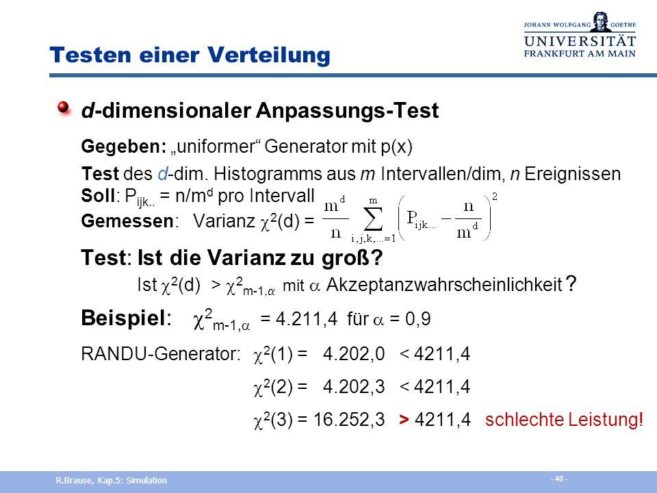 """Testen einer Verteilung Anpassungs-Test Gegeben: """"uniformer"""" Generator mit p(x) Test des Histogramms aus m Intervallen, n Ereignissen Soll: P i = n/m"""