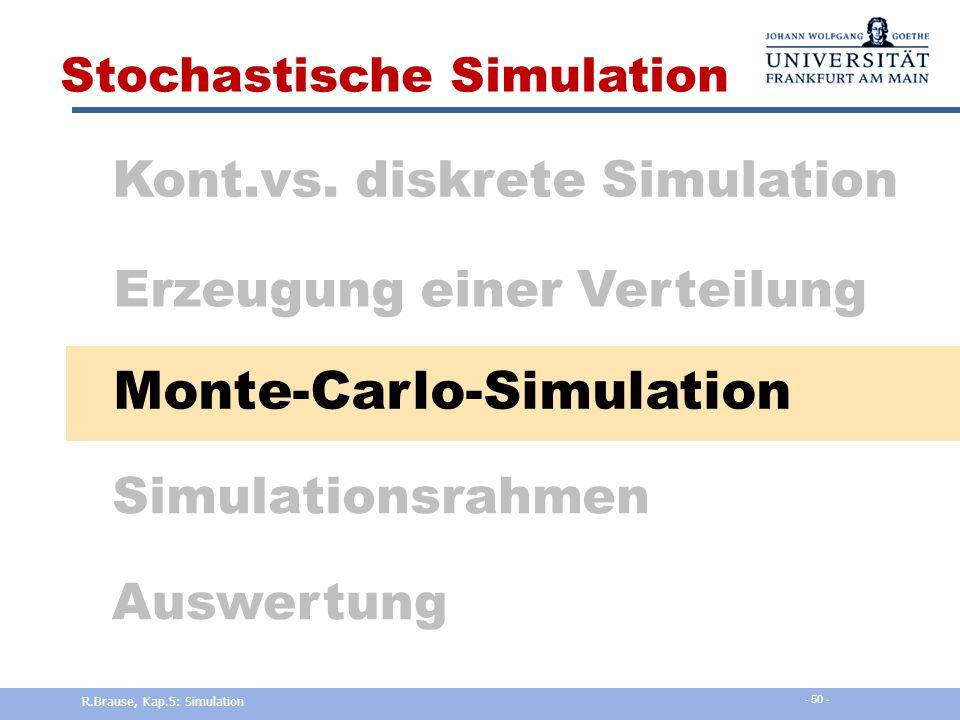 R.Brause, Kap.5: Simulation - 49 - Verteilungen Gamma-Verteilung Def. Gamma-Funktion Erzeugung R.Brause, Kap.5: Simulation - 49 -