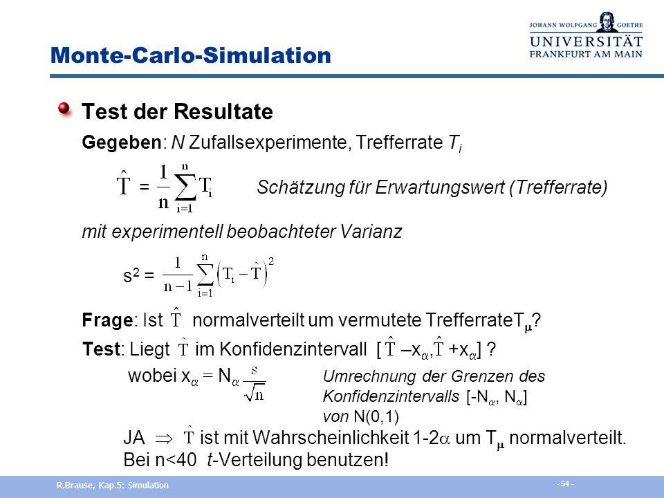 Monte-Carlo-Simulation Hit-and-miss Simulation: Buffons Problem Mit welcher Wahrscheinlichkeit P kreuzt ein geworfener Stab L eine Streifengrenze B ?