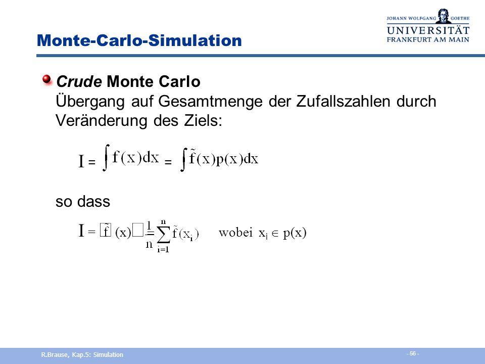 Verteilungen Studentische t-Verteilung mit n Freiheitsgraden Stud. t-Verteilung R.Brause, Kap.5: Simulation - 55 -