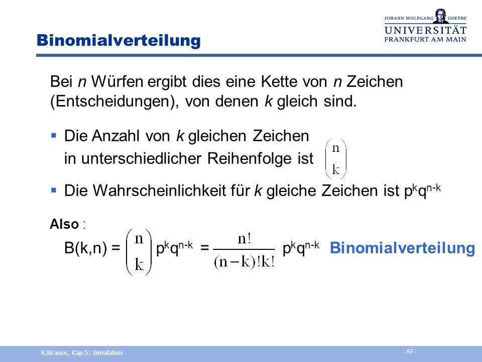 Binomialverteilung Def. Bernoulli-Prozess Galton-Brett Stochast. Prozess, bei dem 2 Ereignisse bei jedem Versuch möglich sind z.B. {Erfolg, Misserfolg