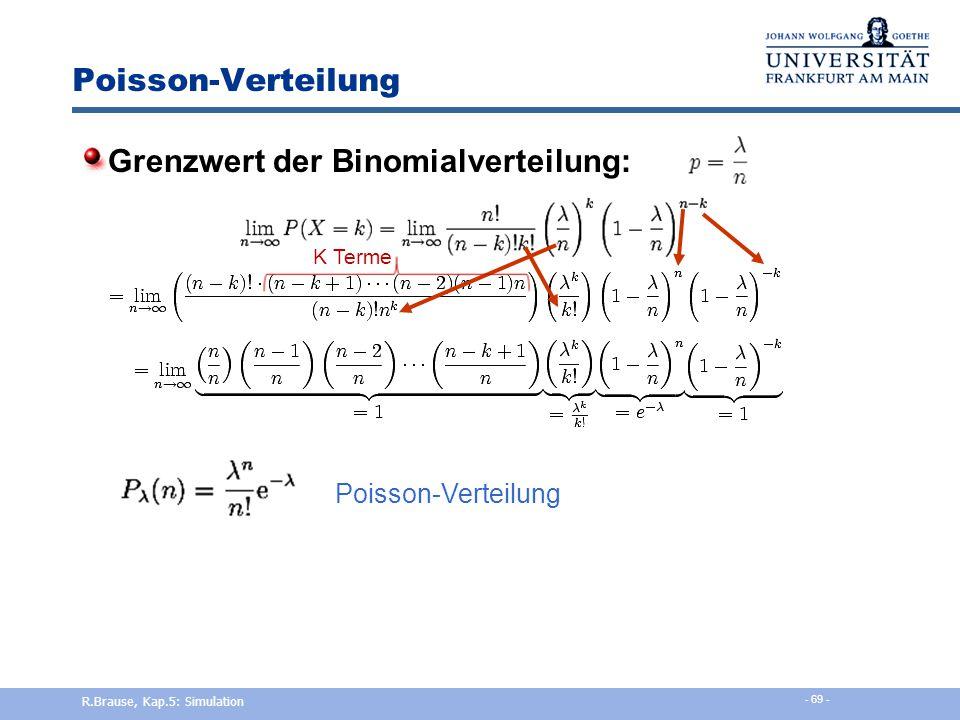 Binomialverteilung Übergang zur Normalverteilung bei n   Originalhistogramm Zentrierte Verteilung Zentrierte und skalierte Verteilung R.Brause, Kap.