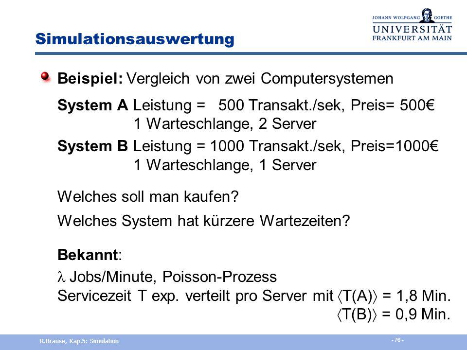 Simulationsauswertung Fragestellung der Simulation = Spezifikation Auswertung der Simulation gemäß der Fragestellung, die zu Beginn festgelegt sein mu