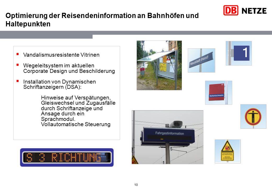 10 Optimierung der Reisendeninformation an Bahnhöfen und Haltepunkten  Vandalismusresistente Vitrinen  Wegeleitsystem im aktuellen Corporate Design