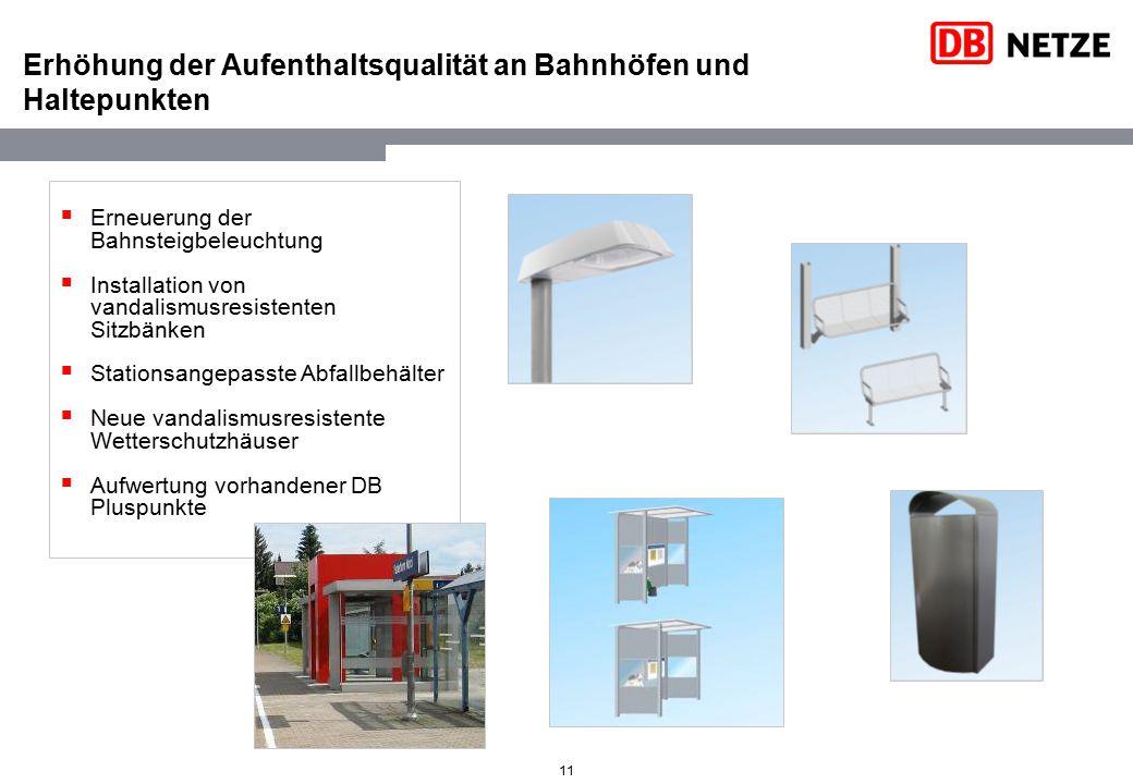 11 Erhöhung der Aufenthaltsqualität an Bahnhöfen und Haltepunkten  Erneuerung der Bahnsteigbeleuchtung  Installation von vandalismusresistenten Sitz