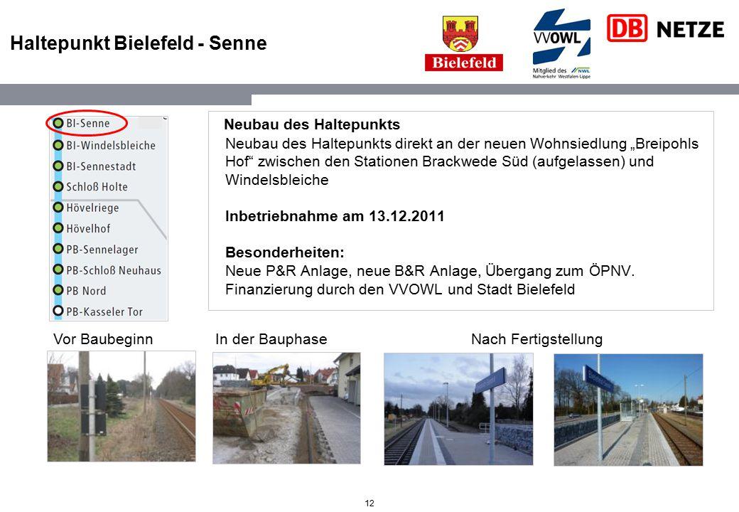 """12 Haltepunkt Bielefeld - Senne Neubau des Haltepunkts Neubau des Haltepunkts direkt an der neuen Wohnsiedlung """"Breipohls Hof"""" zwischen den Stationen"""