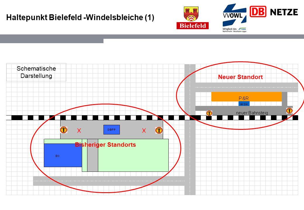 Haltepunkt Bielefeld -Windelsbleiche (1) Bisheriger Standorts Neuer Standort Schematische Darstellung