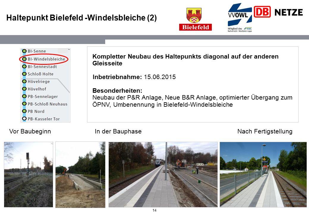 14 Haltepunkt Bielefeld -Windelsbleiche (2) Kompletter Neubau des Haltepunkts diagonal auf der anderen Gleisseite Inbetriebnahme: 15.06.2015 Besonderh