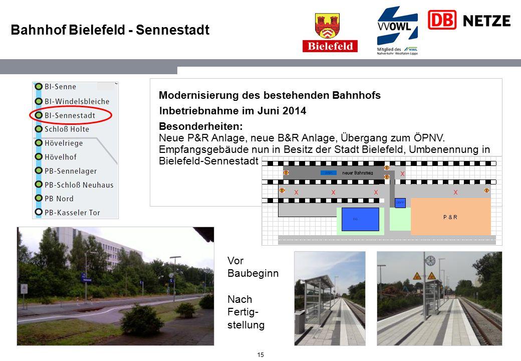 15 Bahnhof Bielefeld - Sennestadt Modernisierung des bestehenden Bahnhofs Inbetriebnahme im Juni 2014 Besonderheiten: Neue P&R Anlage, neue B&R Anlage