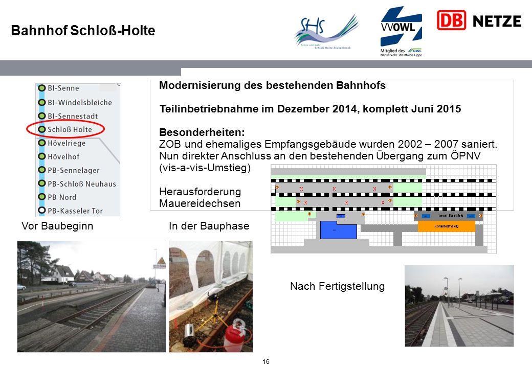 16 Bahnhof Schloß-Holte Modernisierung des bestehenden Bahnhofs Teilinbetriebnahme im Dezember 2014, komplett Juni 2015 Besonderheiten: ZOB und ehemal