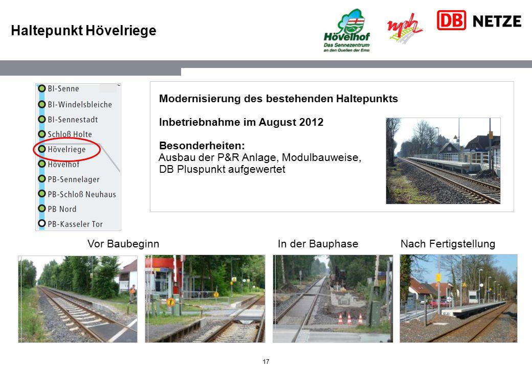 17 Haltepunkt Hövelriege Modernisierung des bestehenden Haltepunkts Inbetriebnahme im August 2012 Besonderheiten: Ausbau der P&R Anlage, Modulbauweise