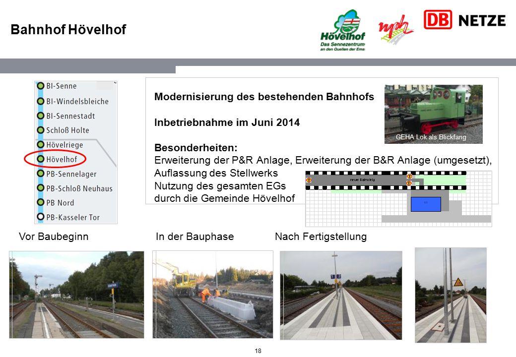 18 Bahnhof Hövelhof Modernisierung des bestehenden Bahnhofs Inbetriebnahme im Juni 2014 Besonderheiten: Erweiterung der P&R Anlage, Erweiterung der B&