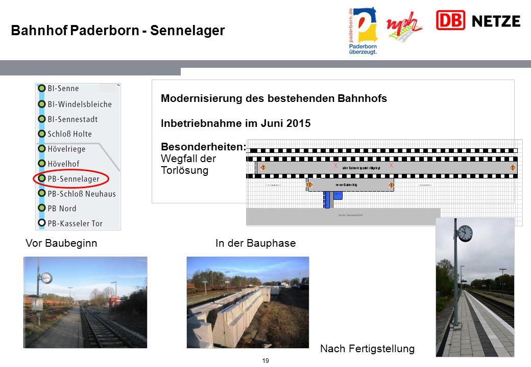 19 Bahnhof Paderborn - Sennelager Vor Baubeginn In der Bauphase Modernisierung des bestehenden Bahnhofs Inbetriebnahme im Juni 2015 Besonderheiten: We