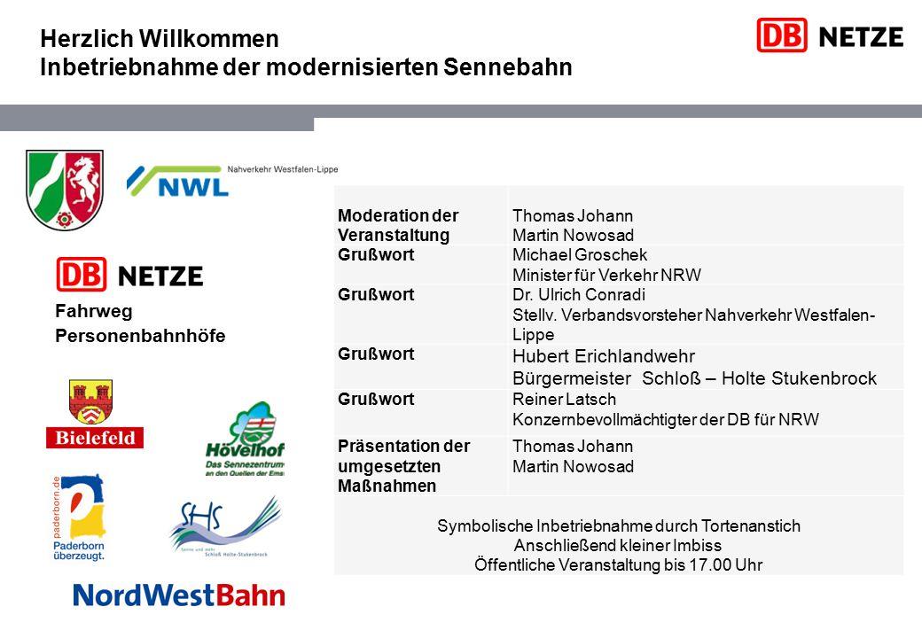 Herzlich Willkommen Inbetriebnahme der modernisierten Sennebahn Moderation der Veranstaltung Thomas Johann Martin Nowosad GrußwortMichael Groschek Min