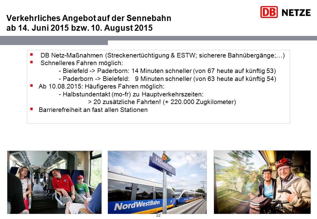 22 Verkehrliches Angebot auf der Sennebahn ab 14. Juni 2015 bzw. 10. August 2015  DB Netz-Maßnahmen (Streckenertüchtigung & ESTW; sicherere Bahnüberg