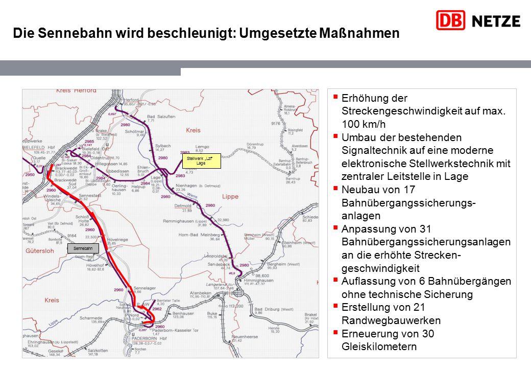 Die Sennebahn wird beschleunigt: Umgesetzte Maßnahmen Sennebahn  Erhöhung der Streckengeschwindigkeit auf max. 100 km/h  Umbau der bestehenden Signa