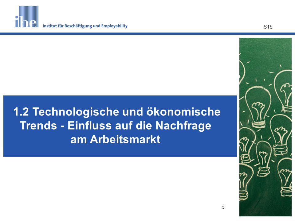 5 1.2 Technologische und ökonomische Trends - Einfluss auf die Nachfrage am Arbeitsmarkt S15