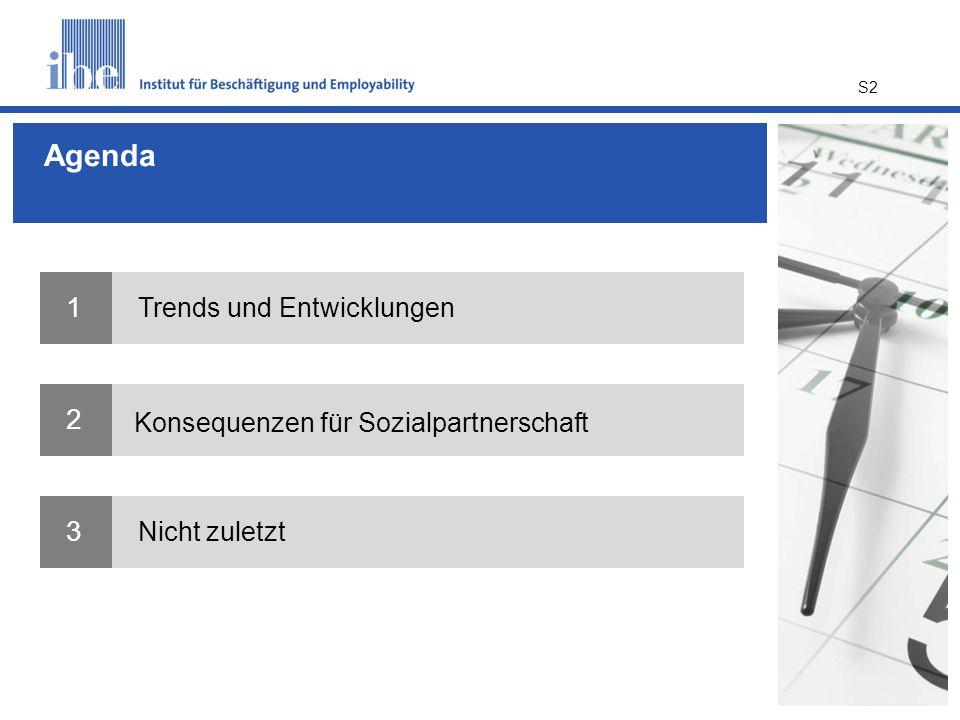 Agenda 1 Trends und Entwicklungen 2 Konsequenzen für Sozialpartnerschaft 3 Nicht zuletzt S2