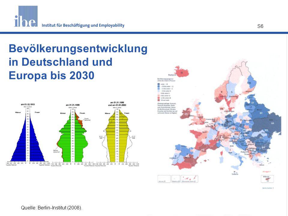 S6 Quelle: Berlin-Institut (2008). Bevölkerungsentwicklung in Deutschland und Europa bis 2030