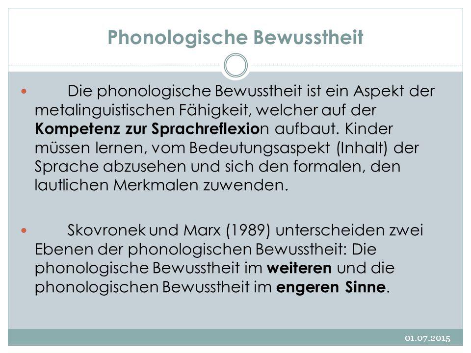Phonologische Bewusstheit 01.07.2015 Die phonologische Bewusstheit ist ein Aspekt der metalinguistischen Fähigkeit, welcher auf der Kompetenz zur Spra