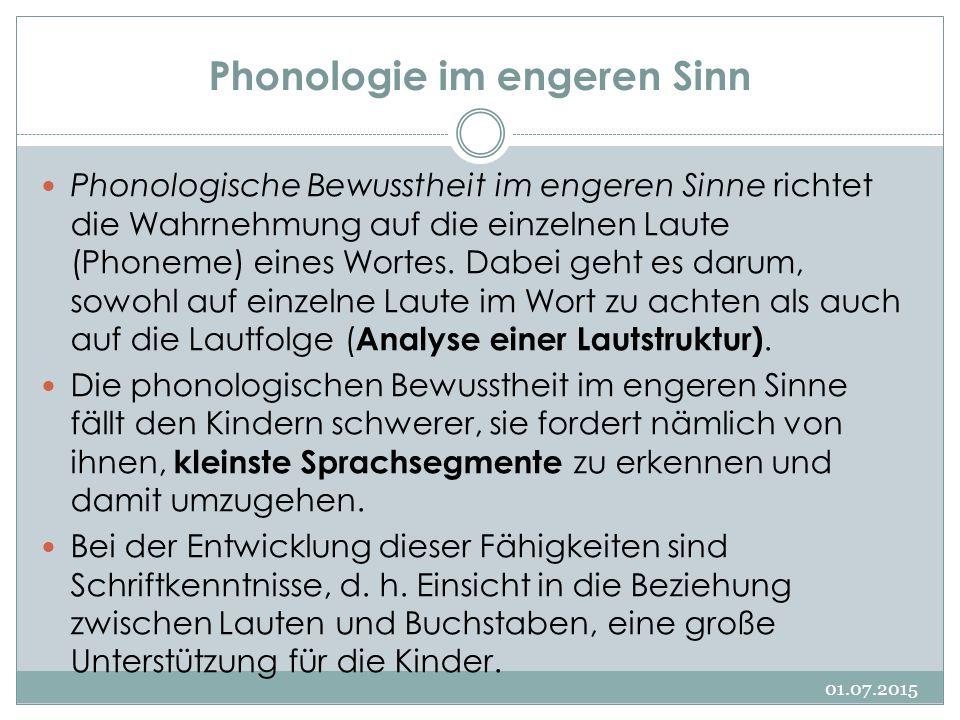 Phonologie im engeren Sinn 01.07.2015 Phonologische Bewusstheit im engeren Sinne richtet die Wahrnehmung auf die einzelnen Laute (Phoneme) eines Worte