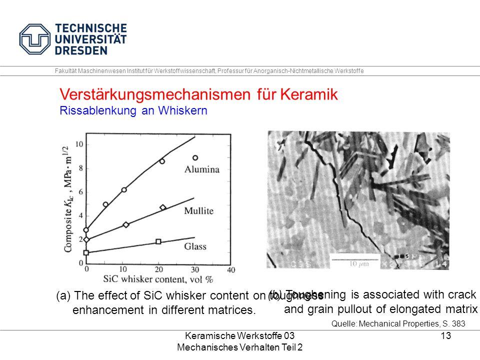 Keramische Werkstoffe 03 Mechanisches Verhalten Teil 2 13 Fakultät Maschinenwesen Institut für Werkstoffwissenschaft, Professur für Anorganisch-Nichtmetallische Werkstoffe Quelle: Mechanical Properties, S.