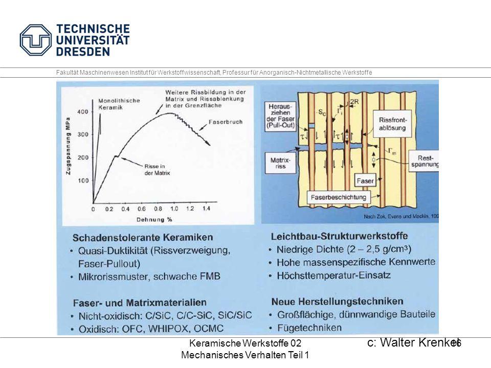 Keramische Werkstoffe 02 Mechanisches Verhalten Teil 1 16 Fakultät Maschinenwesen Institut für Werkstoffwissenschaft, Professur für Anorganisch-Nichtmetallische Werkstoffe c: Walter Krenkel
