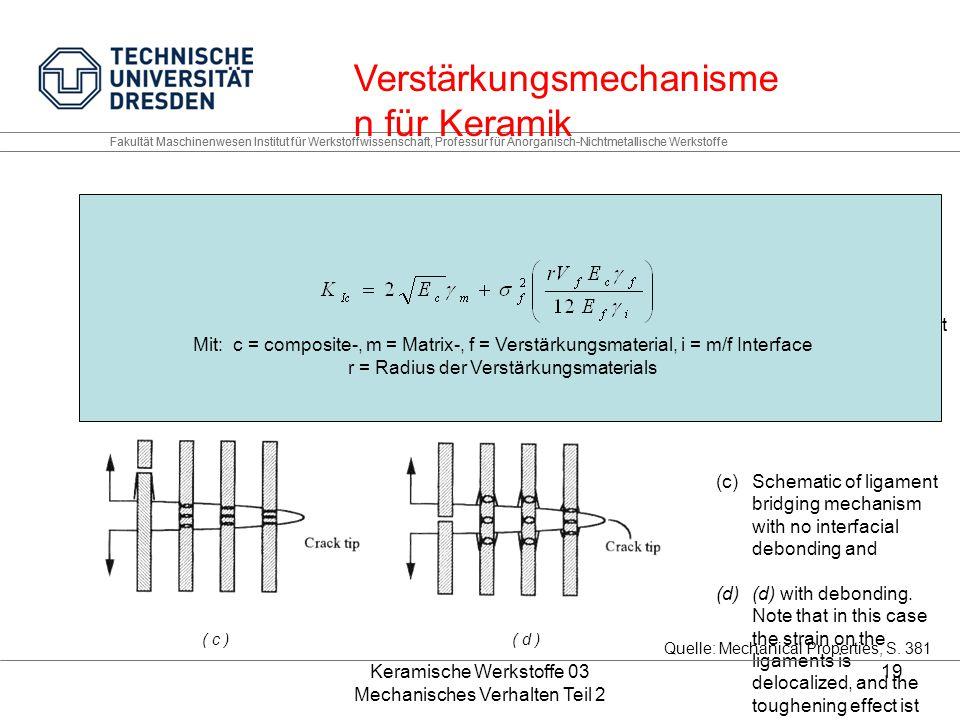 Keramische Werkstoffe 03 Mechanisches Verhalten Teil 2 19 Fakultät Maschinenwesen Institut für Werkstoffwissenschaft, Professur für Anorganisch-Nichtmetallische Werkstoffe (a)Schematic of crack deflection mechanism at grain boundaries.
