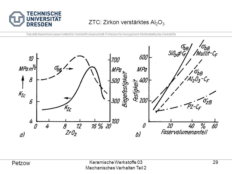 Keramische Werkstoffe 03 Mechanisches Verhalten Teil 2 29 Petzow ZTC: Zirkon verstärktes Al 2 O 3 Fakultät Maschinenwesen Institut für Werkstoffwissenschaft, Professur für Anorganisch-Nichtmetallische Werkstoffe
