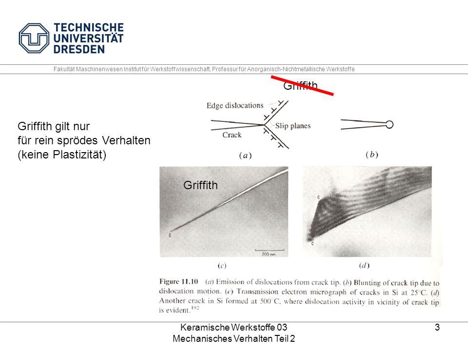 Keramische Werkstoffe 03 Mechanisches Verhalten Teil 2 3 Fakultät Maschinenwesen Institut für Werkstoffwissenschaft, Professur für Anorganisch-Nichtmetallische Werkstoffe Griffith gilt nur für rein sprödes Verhalten (keine Plastizität) Griffith
