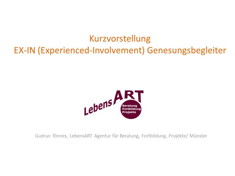 Kurzvorstellung EX-IN (Experienced-Involvement) Genesungsbegleiter Gudrun Tönnes, LebensART Agentur für Beratung, Fortbildung, Projekte/ Münster