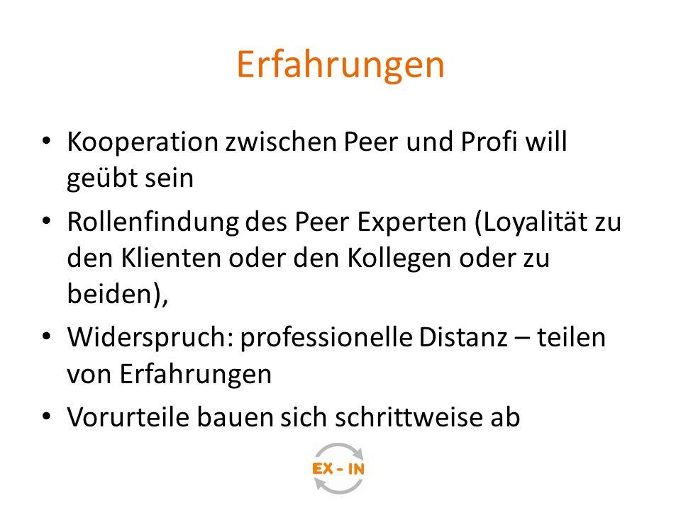 Erfahrungen Kooperation zwischen Peer und Profi will geübt sein Rollenfindung des Peer Experten (Loyalität zu den Klienten oder den Kollegen oder zu b