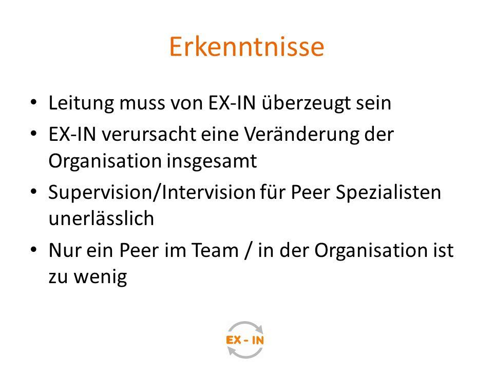 Erkenntnisse Leitung muss von EX-IN überzeugt sein EX-IN verursacht eine Veränderung der Organisation insgesamt Supervision/Intervision für Peer Spezi