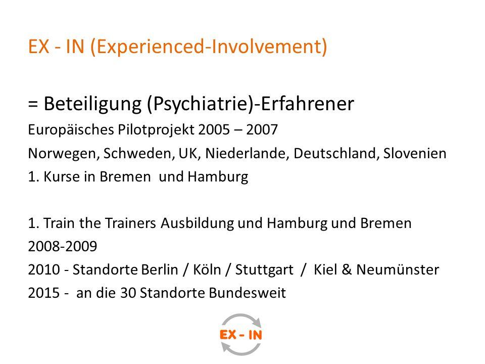 EX - IN (Experienced-Involvement) = Beteiligung (Psychiatrie)-Erfahrener Europäisches Pilotprojekt 2005 – 2007 Norwegen, Schweden, UK, Niederlande, De