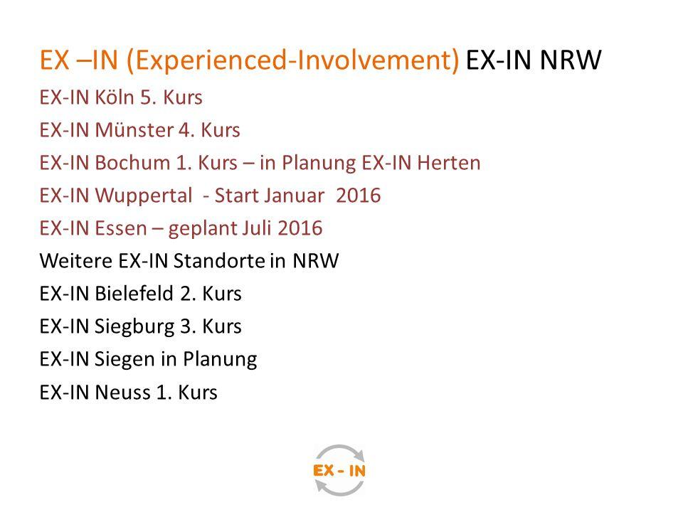 EX –IN (Experienced-Involvement) EX-IN NRW EX-IN Köln 5. Kurs EX-IN Münster 4. Kurs EX-IN Bochum 1. Kurs – in Planung EX-IN Herten EX-IN Wuppertal - S