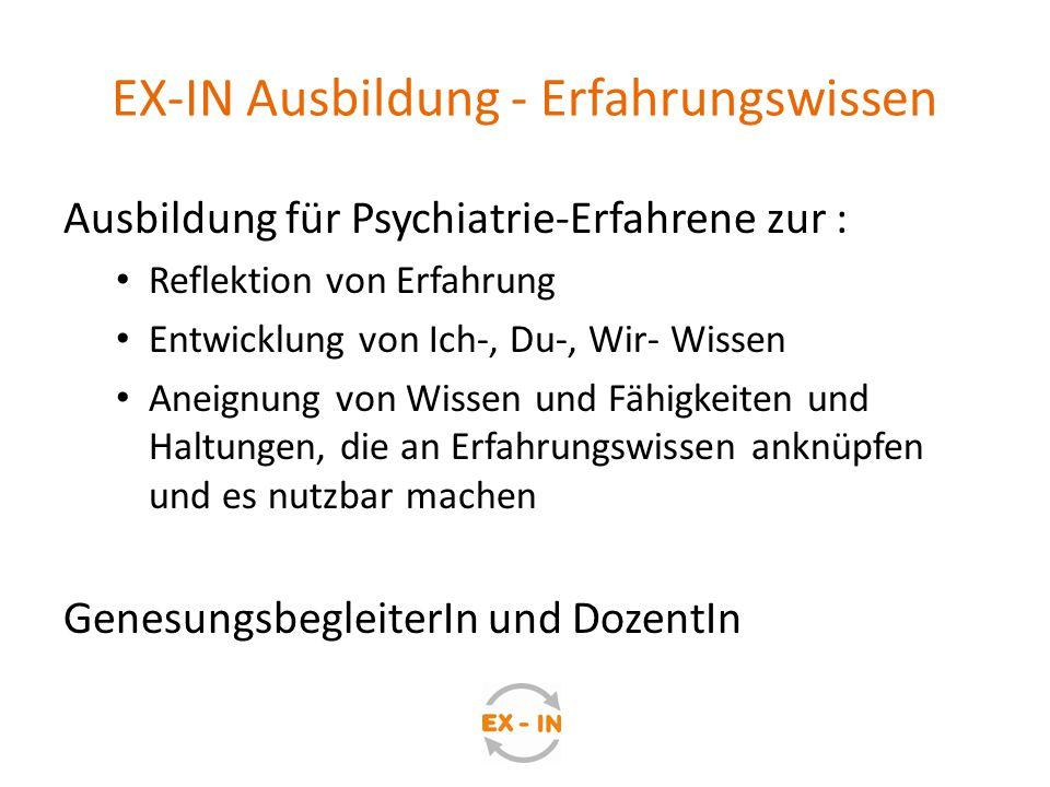 EX-IN Ausbildung - Erfahrungswissen Ausbildung für Psychiatrie-Erfahrene zur : Reflektion von Erfahrung Entwicklung von Ich-, Du-, Wir- Wissen Aneignu