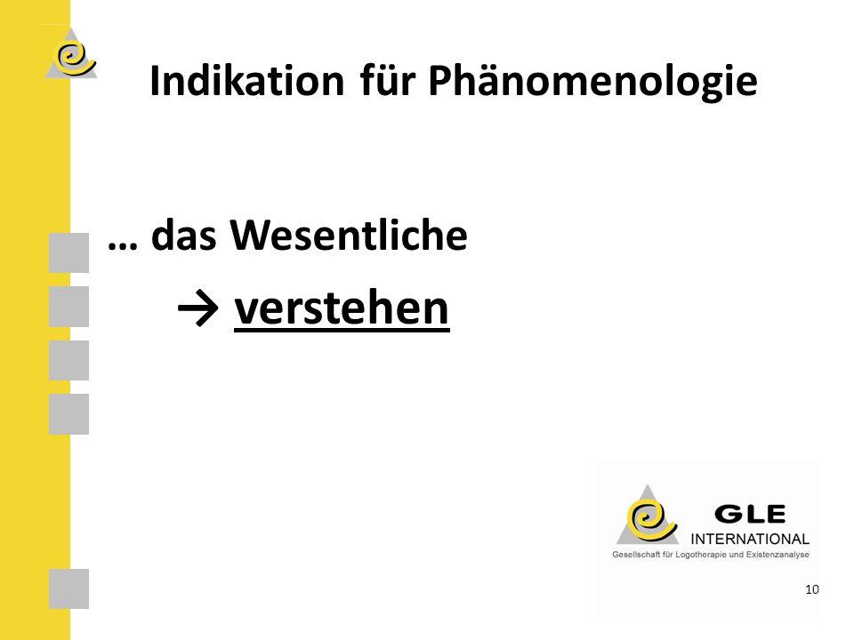 Indikation für Phänomenologie … das Wesentliche → verstehen 10