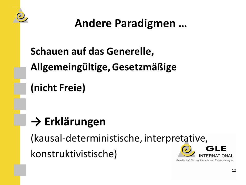 Andere Paradigmen … Schauen auf das Generelle, Allgemeingültige, Gesetzmäßige (nicht Freie) → Erklärungen (kausal-deterministische, interpretative, konstruktivistische) 12