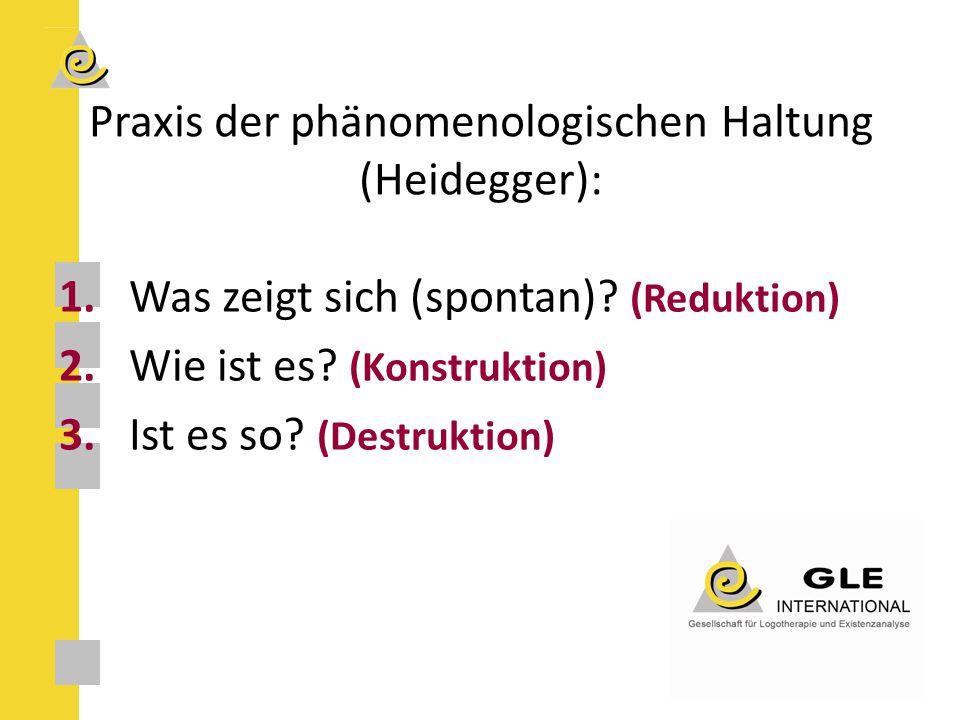 Praxis der phänomenologischen Haltung (Heidegger): 1.