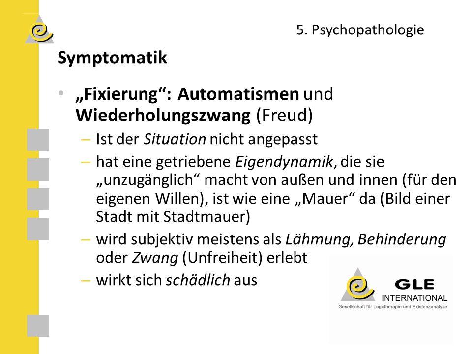 """5. Psychopathologie Symptomatik """"Fixierung"""": Automatismen und Wiederholungszwang (Freud) – Ist der Situation nicht angepasst – hat eine getriebene Eig"""