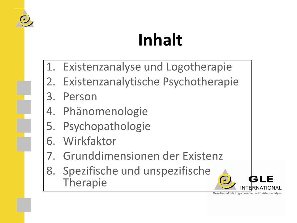 Inhalt 1.Existenzanalyse und Logotherapie 2.Existenzanalytische Psychotherapie 3.Person 4.Phänomenologie 5.Psychopathologie 6.Wirkfaktor 7.Grunddimensionen der Existenz 8.Spezifische und unspezifische Therapie
