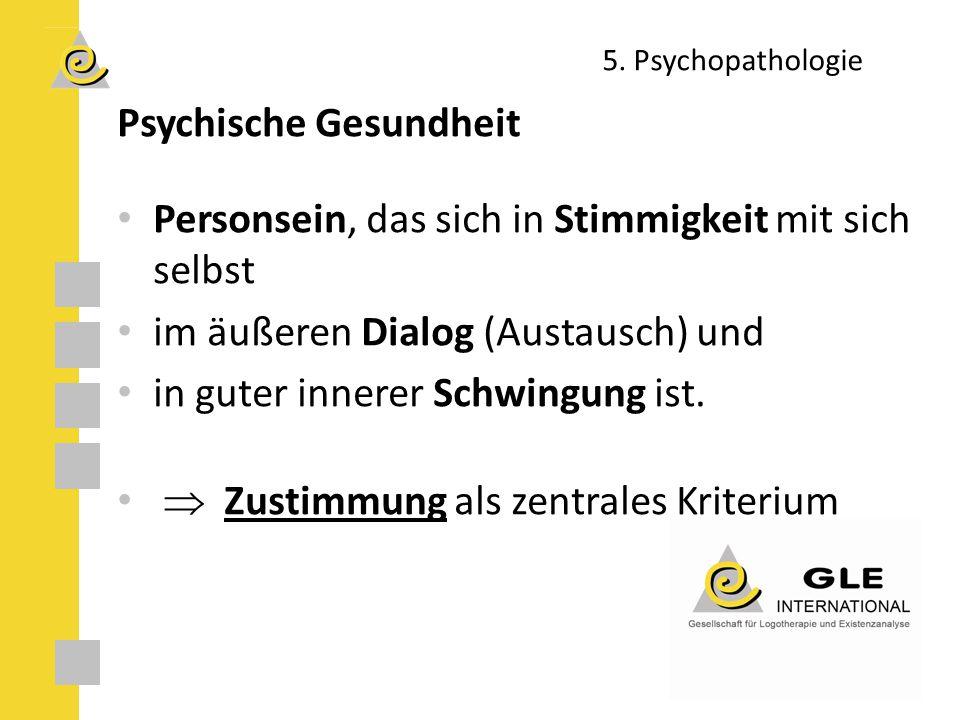 5. Psychopathologie Psychische Gesundheit Personsein, das sich in Stimmigkeit mit sich selbst im äußeren Dialog (Austausch) und in guter innerer Schwi