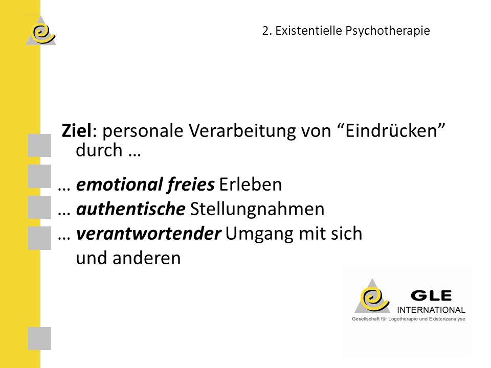 Ziel: personale Verarbeitung von Eindrücken durch … … emotional freies Erleben … authentische Stellungnahmen … verantwortender Umgang mit sich und anderen 2.