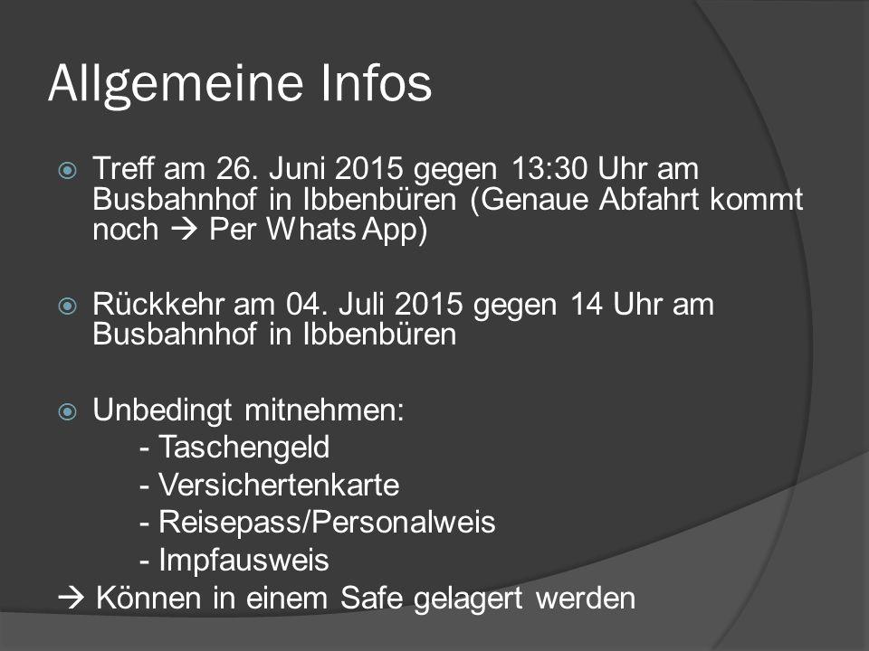 Allgemeine Infos  Treff am 26.