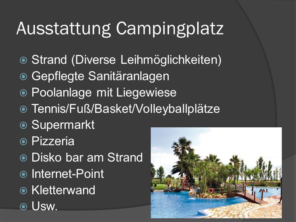 Tagesablauf Anreisetag  Ankunft gegen 08:00 Uhr  Camp beziehen + Frühstücken  Gegend erkunden (Waschräume, Strand, Poolanlage usw.)  Einweisung durch das Personal vor Ort  Erklärt die Regeln innerhalb des Camps/Aktionen