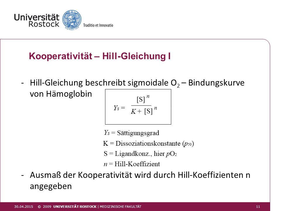 30.04.2015 Kooperativität – Hill-Gleichung I -Hill-Gleichung beschreibt sigmoidale O 2 – Bindungskurve von Hämoglobin -Ausmaß der Kooperativität wird