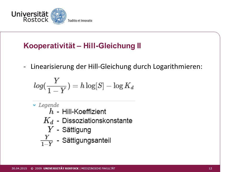 30.04.2015 Kooperativität – Hill-Gleichung II -Linearisierung der Hill-Gleichung durch Logarithmieren: © 2009 UNIVERSITÄT ROSTOCK | MEDIZINISCHE FAKUL