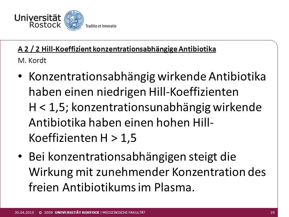 A 2 / 2 Hill-Koeffizient konzentrationsabhängige Antibiotika M. Kordt Konzentrationsabhängig wirkende Antibiotika haben einen niedrigen Hill-Koeffizie